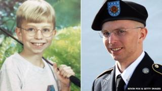 Bradley Manning as a child - courtesy of Kevin Fox - and in uniform at his hearing