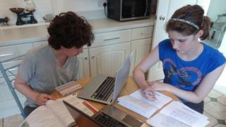 Alex and Lin Lonnecker in Swindon, Wiltshire, studying for their GCSEs at home