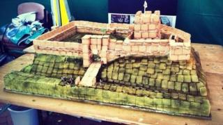 Custard creams on plan of Carlisle Castle