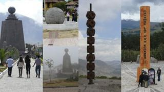 Monuments marking the middle of the Earth