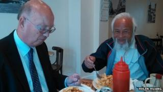 John Beeston and Chen Guanming in Ormskirk, Lancashire