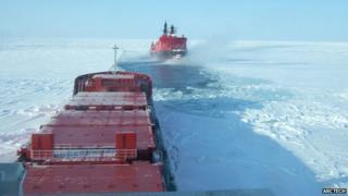 Arctic icebreakers in frozen sea