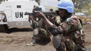 Tanzanian Forces of the UN Intervention Brigade attend a training session outside Goma in the eastern Democratic Republic of Congo, 9 August 2013