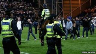 PNE v Blackpool pitch invasion