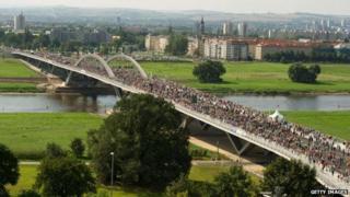 Pedestrians on the Waldschloesschen bridge, Dresden (24 August)