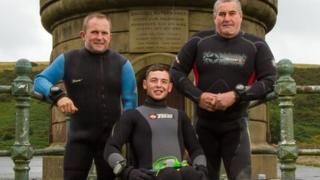 Josh Davies with Dai Mathias and Mark Thomas from the Llwchwr branch of BSAC