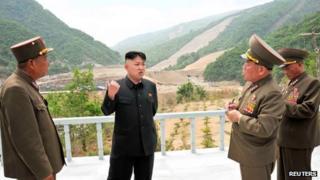 Kim Jong-un at the Masik ski resort site on 27 May 2013