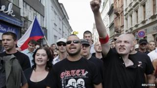 Far-right activists in Plzen. 24 Aug 2013