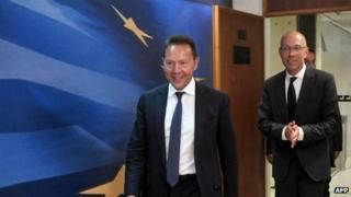 Greek Finance Minister Yannis Stournaras and Joerg Asmussen of the ECB, Athens (21 August)