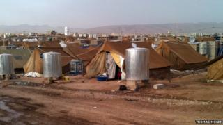 Family tents at Domiz refugee camp in Iraqi Kurdistan