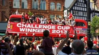 Wigan Warriors' open top bus parade