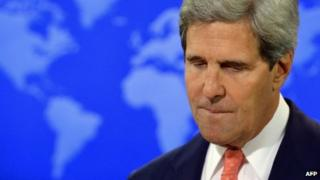 US Secretary of State John Kerry speaks on Syria at the State Department in Washington, DC, 26 August 2013