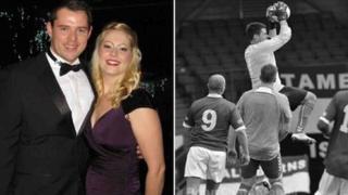 Stocksbridge goalkeeper Ben Scott and fiancee Lisa Probert