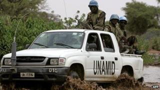 Unamid peacekeepers in Darfur (file image)