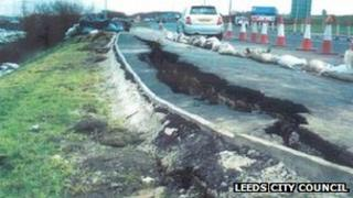 A section of the A639 cracked and split