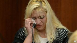 Sherry West, mother of slain toddler Antonio Santiago, testifies in Judge Stephen Kelley's courtroom on 27 August 2013