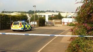 Police cordon at the Pennygillam Industrial Estate
