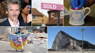 "Clockwise, from left: Peter Capaldi; a ""sold"" sign; the royal baby mug; Rock of Gibraltar; Egyptian protester"