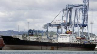 The North Korean-flagged cargo ship Chong Chon Gang sits docked at the Manzanillo International container terminal on the coast of Colon City, Panama, 14 August, 2013.