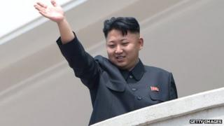Kim Jong-un waves from a balcony