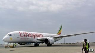 An Ethiopian Airlines Dreamliner jet is pictured ahead of its take off at Addis Ababa's Bole International Airport.
