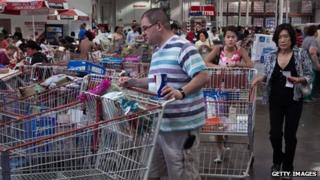Shoppers in Costco