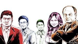 (From left) Nandan Nilekani, Ben Gomes, Rikin Gandhi, Ruchi Sanghvi and Sanjeev Bikhchandani - Illustrators: Sumit Kumar & Sumit Kumar