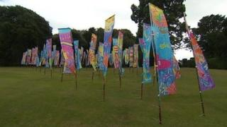 Silk banners at Mount Edgcumbe