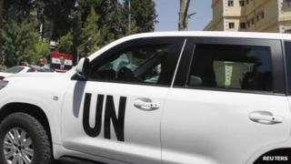UN vehicle carrying chemical weapons experts in Damascus