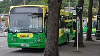 Guernsey buses at the terminus in St Peter Port