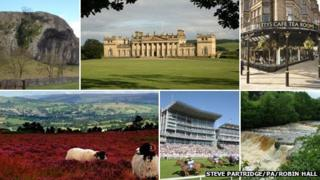 Clockwise from top left: Kilnsey Crag, Harewood House, Betty's tea rooms, Aysgarth Falls, York Racecourse and Ilkley Moor