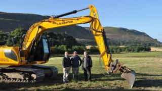 Digger on site At Loch Leven Heritage Trail