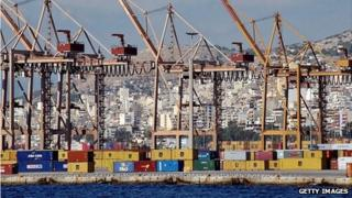 Containers at Piraeus port
