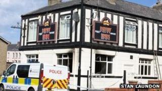 Fire-damaged pub