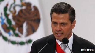 Mexico's President Enrique Pena Nieto addresses the audience during his annual state of the union address in Mexico City on September 2, 2013