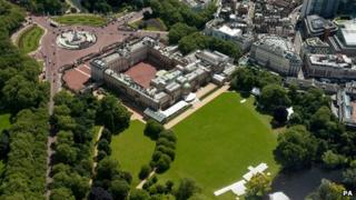 Aerial view of Buckingham Palace