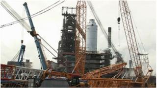 Blast furnace number four being rebuilt at Tata's Port Talbot steelworks