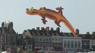 A lizard kite at Weymouth Kite Festival