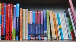 Children's books on shelf