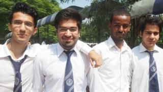 Haroon (second from left) with classmates