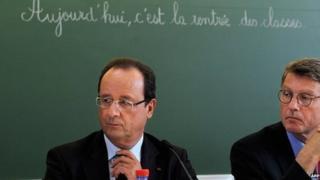 French President Francois Hollande at a school in Denain, northern France, on 3 September 2013