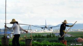 Chinese airline landing in China