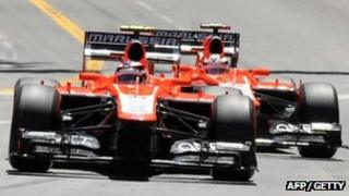 Max Chilton (front) and Jules Bianchi in their Marussia F1 cars at Monaco