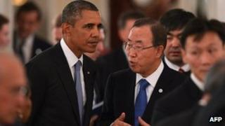 US President Barack Obama speaks to UN secretary general Ban Ki-Moon