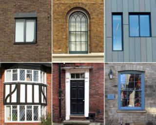 Windows and a door from different periods of architecture - from Georgian to modern-day