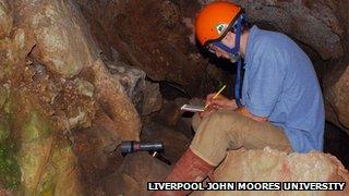 Archaeologists Ian Smith at Kents Bank Cavern
