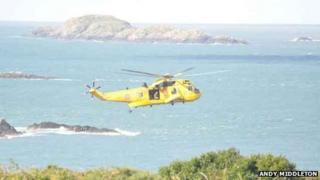 RAF rescue helicopter at Whitesands, Pembrokeshire