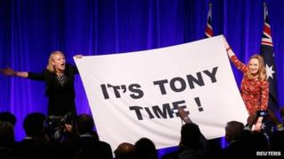 Supporters of Tony Abbott at an election night function in Sydney on 7 September 2013