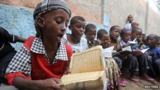 Muslim children learn to read the Koran in Mogadishu