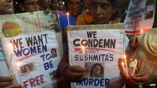 A protest rally following the murder of Indian writer Sushmita Banerjee